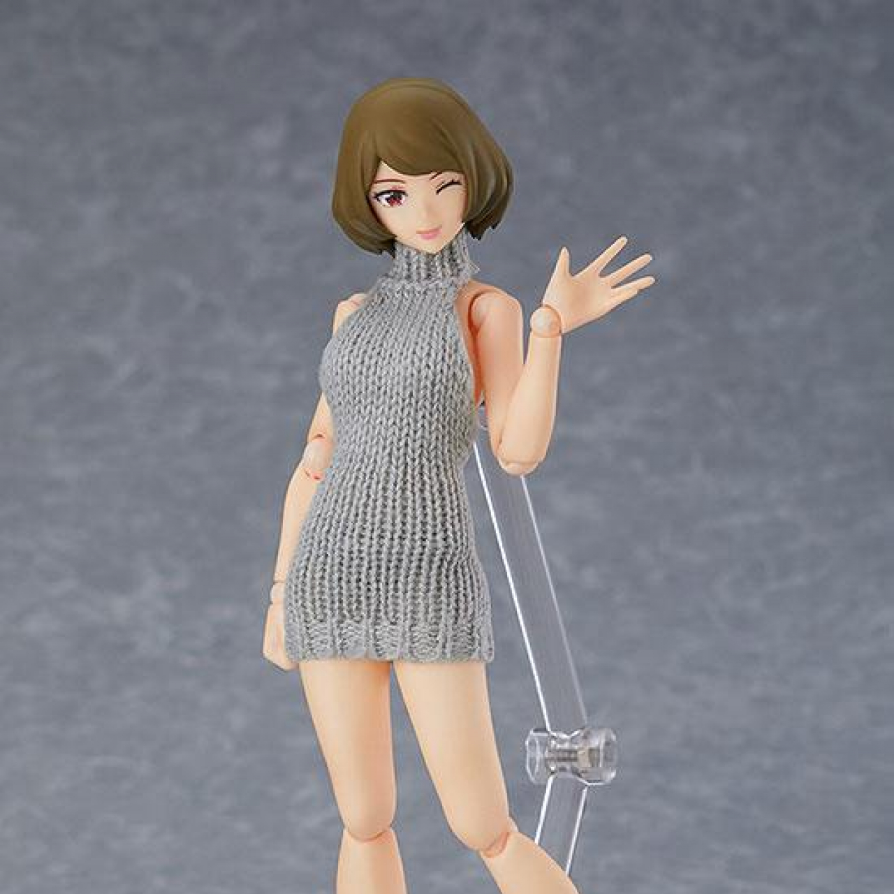 Original Character Figma Action Figure Female Body Chiaki with Backless Sweater Outfit 13 cm